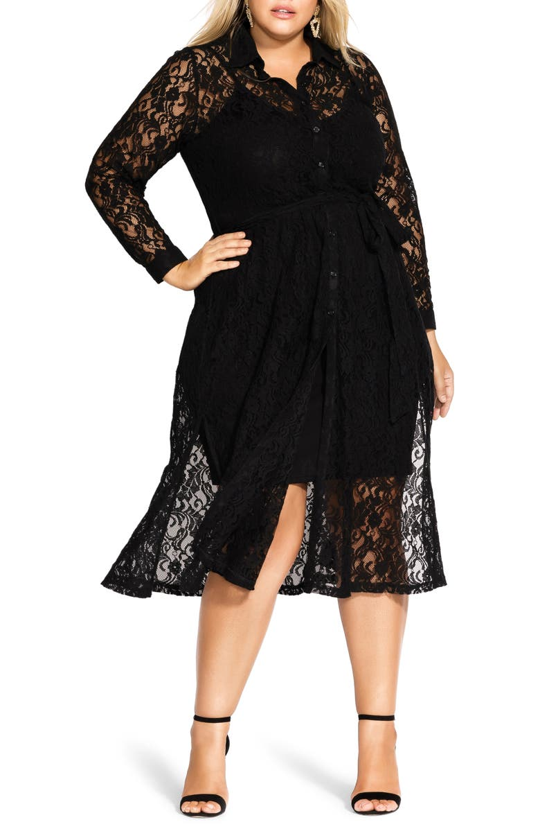 CITY CHIC Lacey Sheer Lace Long Sleeve Dress, Main, color, BLACK