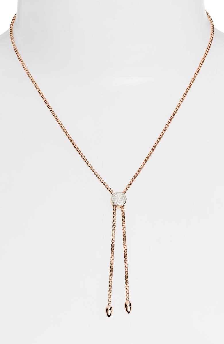 MONICA VINADER Fiji Diamond Lariat Necklace, Main, color, ROSE GOLD