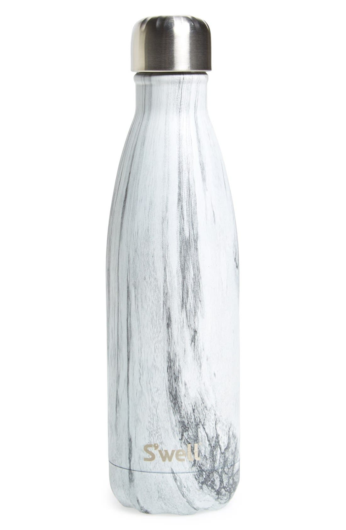 'Birch Wood' Stainless Steel Water Bottle, Main, color, 020