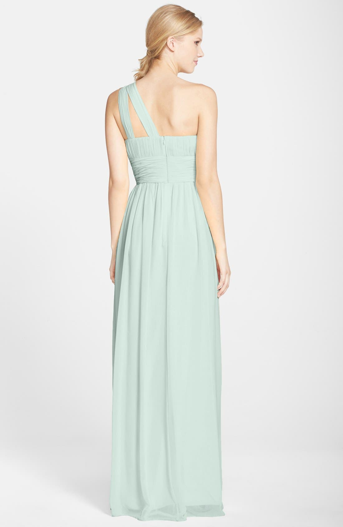 ,                             'Rachel' Ruched One-Shoulder Chiffon Gown,                             Alternate thumbnail 53, color,                             338