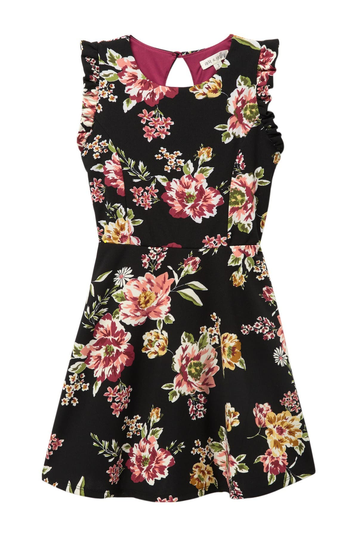Image of AVA AND YELLY Floral Ruffle Sleeve Skater Dress