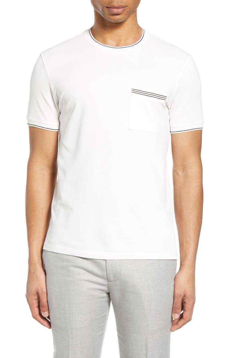 CLUB MONACO Crewneck Pocket T-Shirt, Main, color, 100