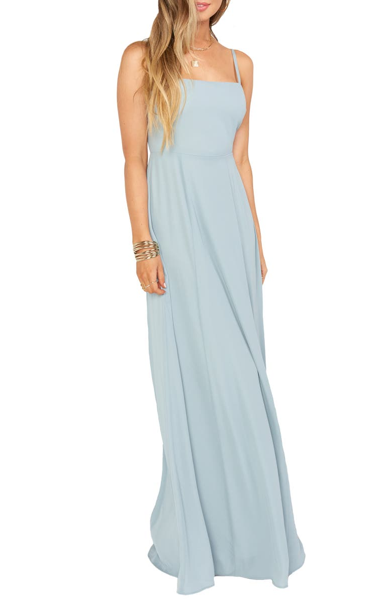 SHOW ME YOUR MUMU Lauren Tie Back Chiffon A-Line Gown, Main, color, SILVER SAGE