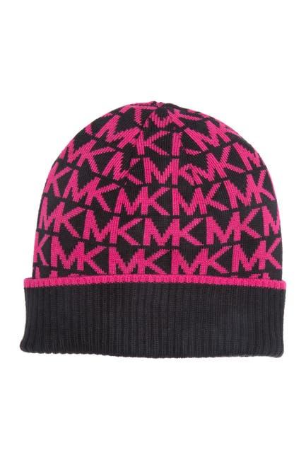 Image of Michael Kors Bordered MK Logo Cuff Beanie Hat