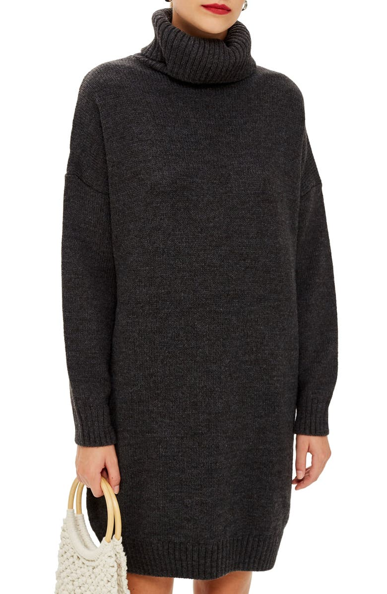 TOPSHOP Turtleneck Sweater Dress, Main, color, 021