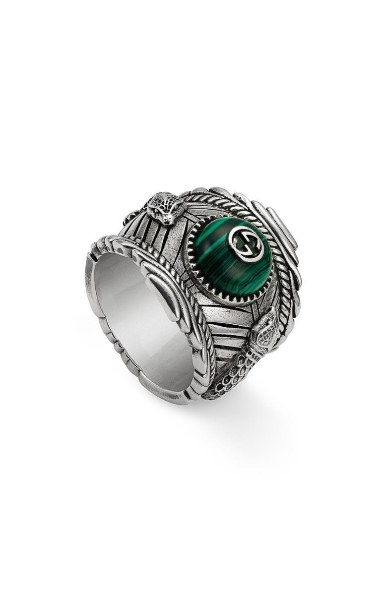 GUCCI Garden Sterling Silver Ring, Main, color, STERLING SILVER / MALACHITE