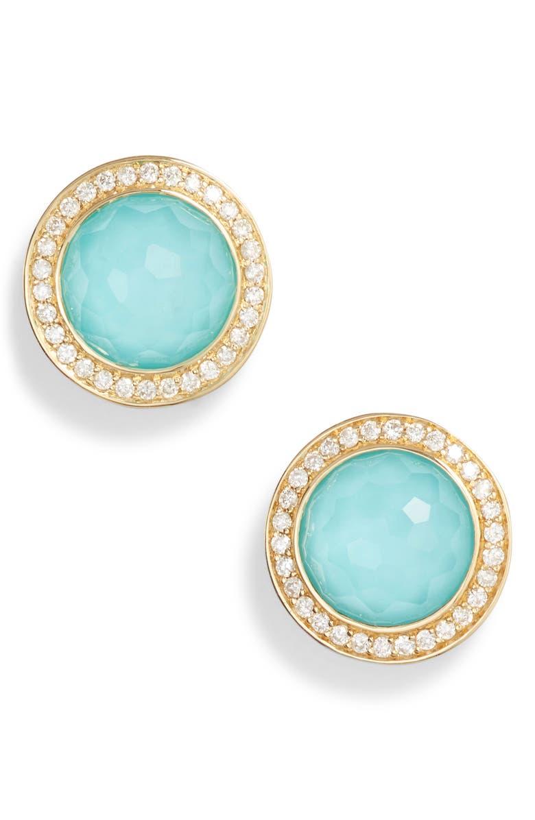 IPPOLITA Lollipop Stone & Diamond Stud Earrings, Main, color, GOLD/ TURQUOISE