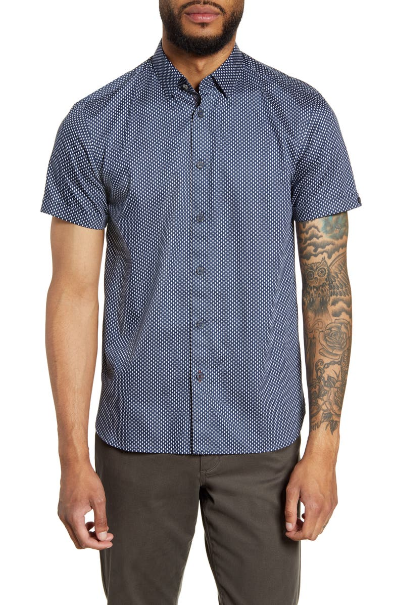 TED BAKER LONDON Aloeve Slim Fit Geo Print Short Sleeve Button-Down Shirt, Main, color, NAVY