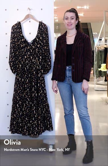 Cameron Star Print Long Sleeve Metallic Silk Maxi Dress, sales video thumbnail