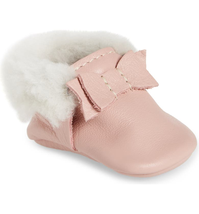 FRESHLY PICKED Genuine Shearling Bow Moccasin, Main, color, BLUSH SHEARLING BOW