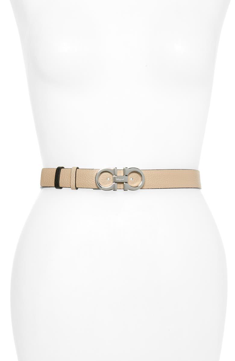 SALVATORE FERRAGAMO Double Gancio Reversible Leather Belt, Main, color, NEW BISQUE/ NERO