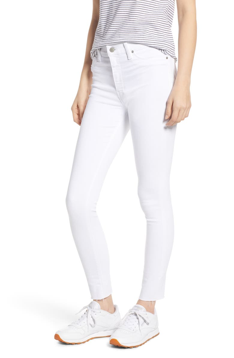 HUDSON JEANS Barbara High Waist Raw Hem Ankle Skinny Jeans, Main, color, WHITE