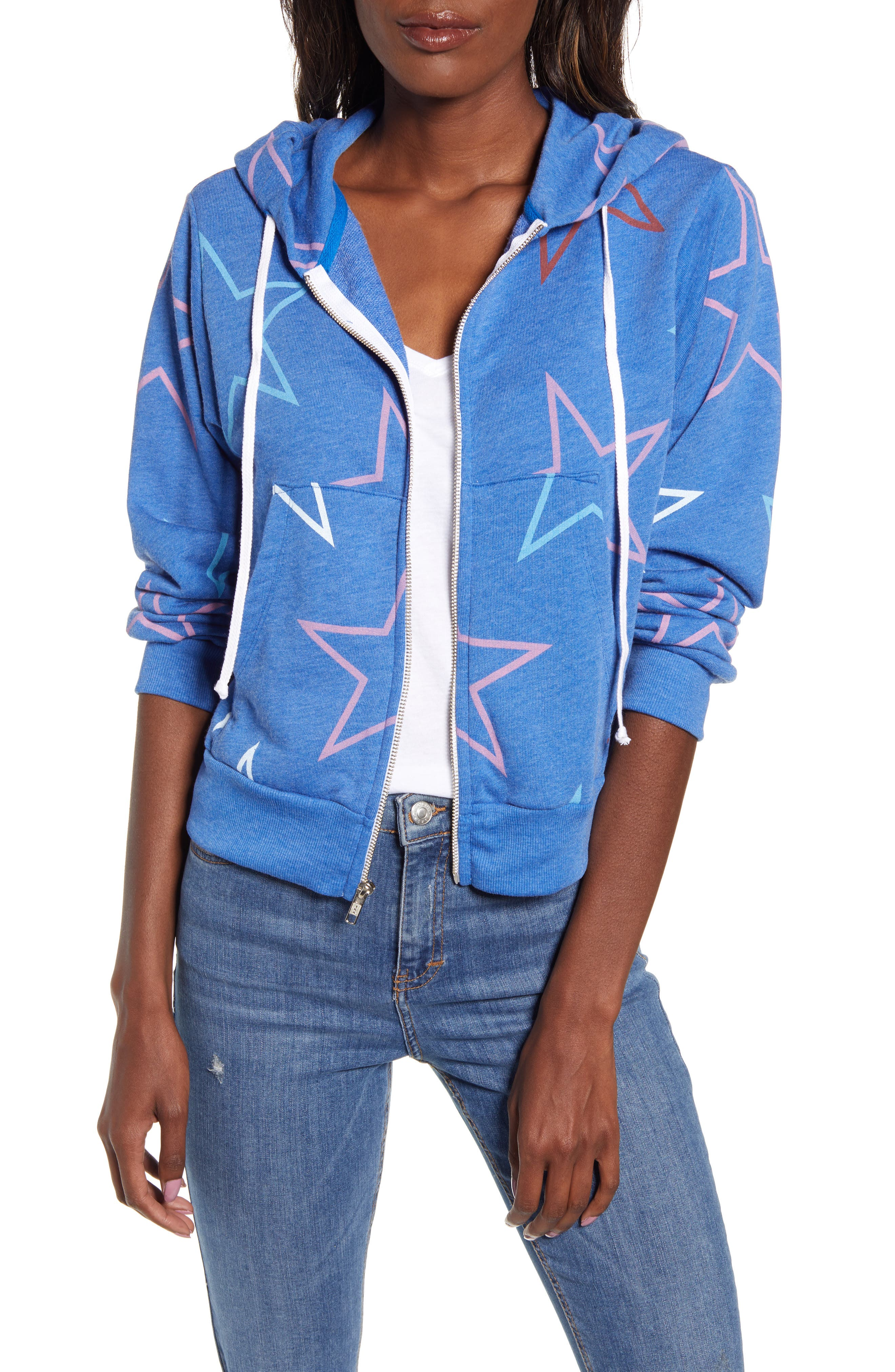 Wildfox Regan Starlight Zip Hooded Sweatshirt, Blue