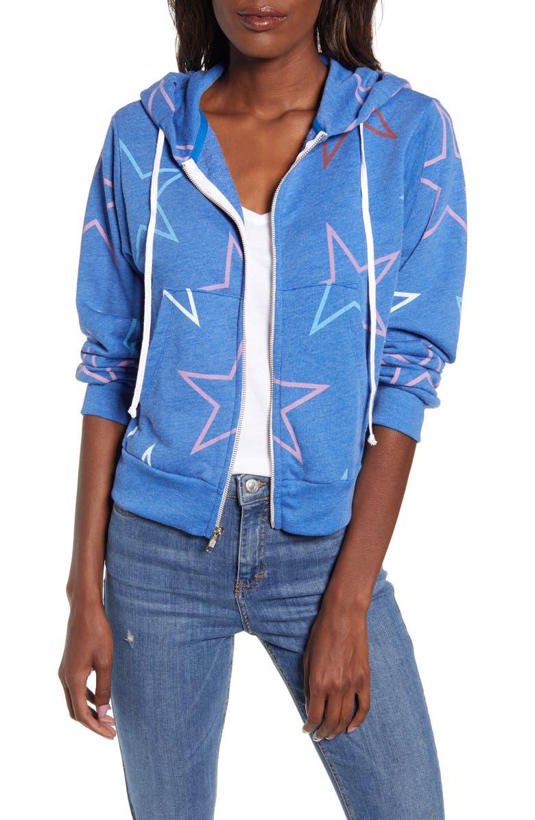WILDFOX Regan Starlight Zip Hooded Sweatshirt, Main, color, SLATE