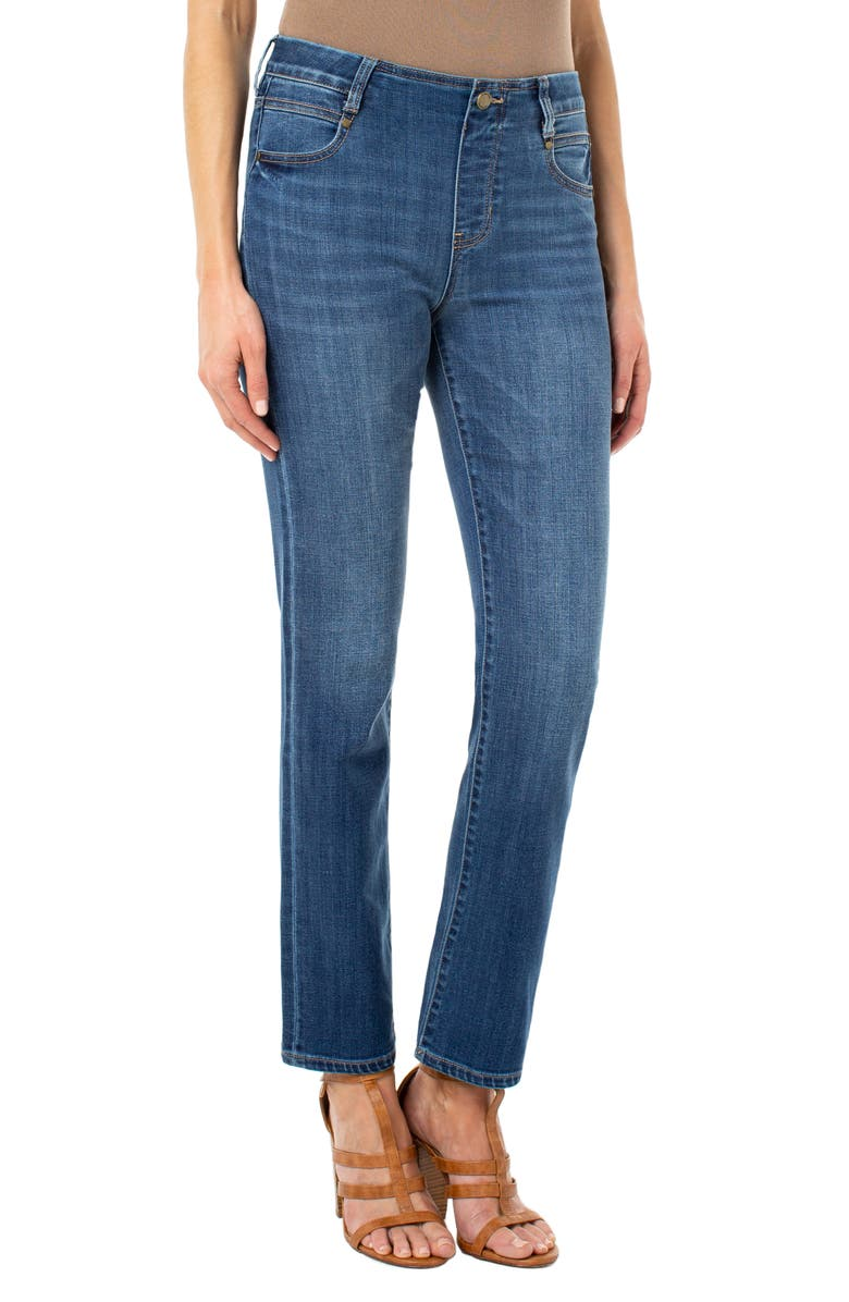 LIVERPOOL Gia Glider Pull-On Straight Leg Jeans, Main, color, CARTERSVILLE