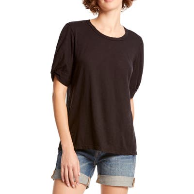 Michael Stars Victoria Knotted Sleeve Tee, Size One Size - Black