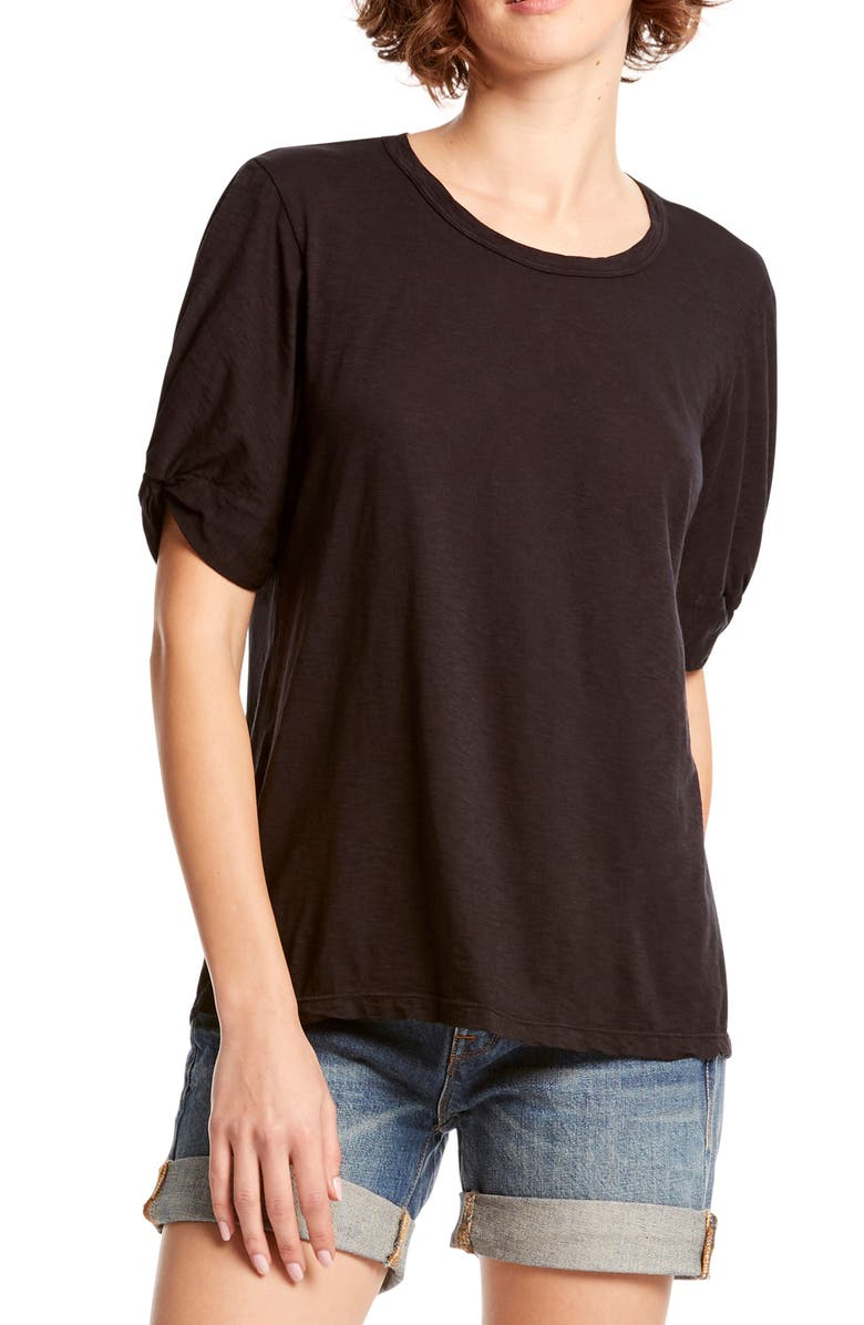 MICHAEL STARS Victoria Knotted Sleeve Tee, Main, color, 001