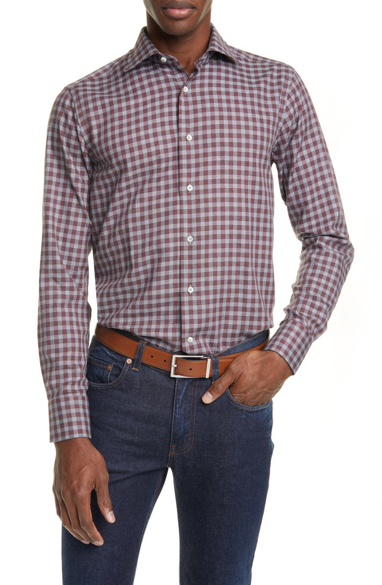 CANALI Regular Fit Check Dress Shirt, Main, color, RED