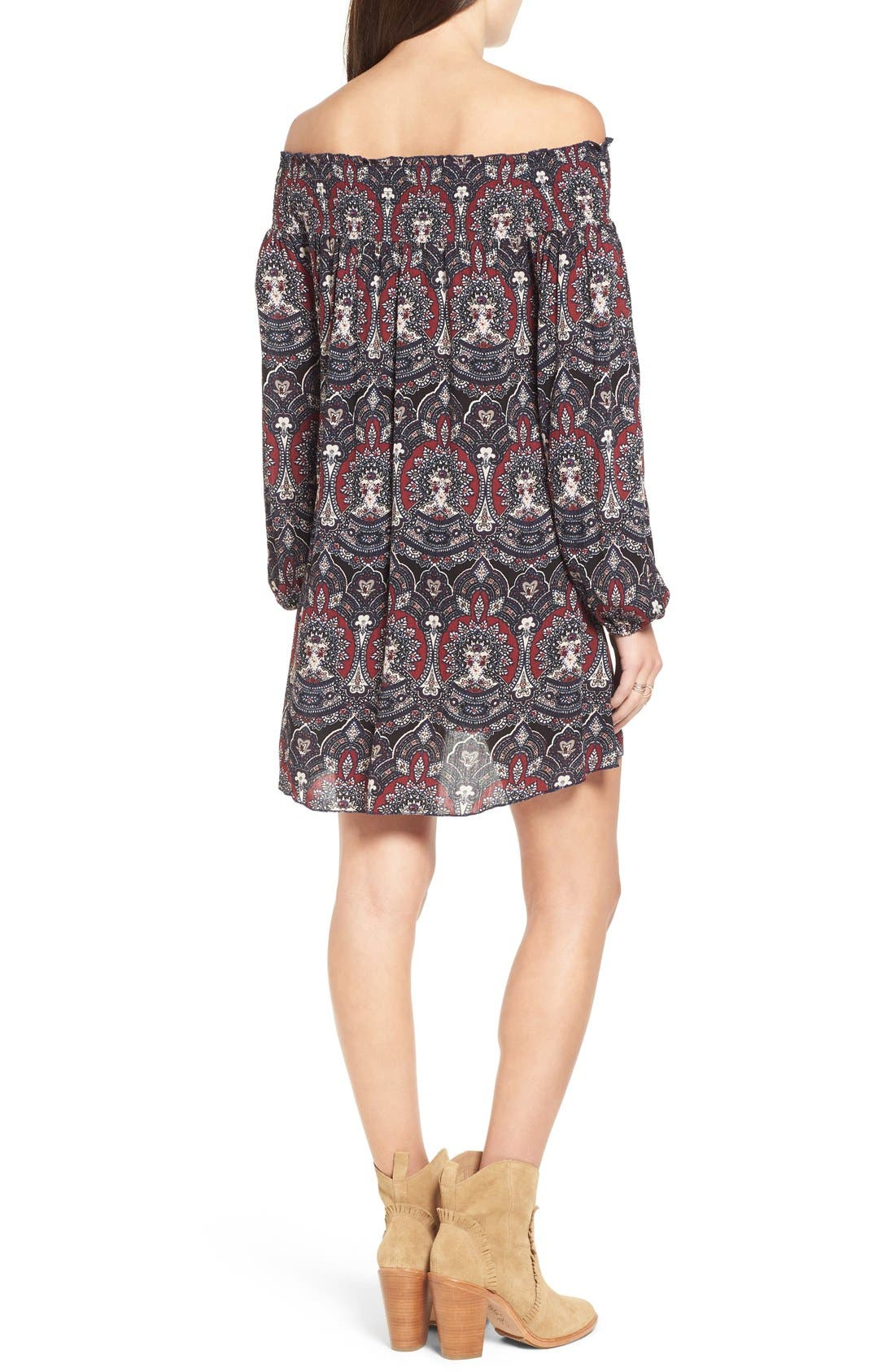 ,                             Floral Print Off the Shoulder Shift Dress,                             Alternate thumbnail 5, color,                             001