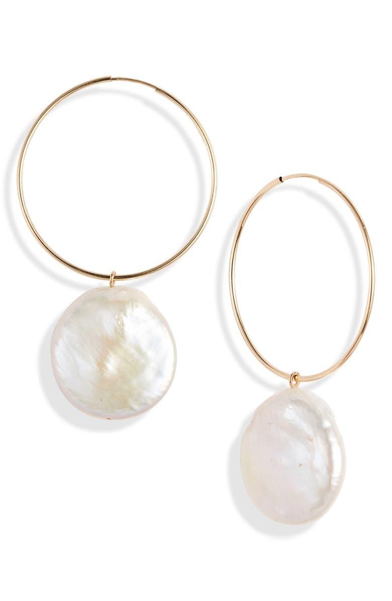 LOREN STEWART Nakita Coin Pearl Hoop Earrings, Main, color, YELLOW GOLD