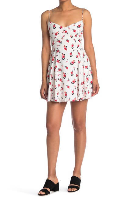 Image of ROW A Spaghetti Strap Floral Print Mini Dress