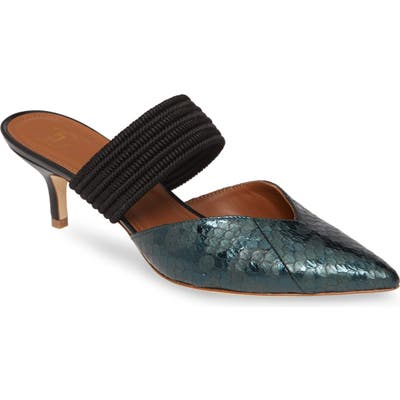 Malone Souliers Maisie Genuine Snakeskin Banded Mule - Black (Nordstrom Exclusive)