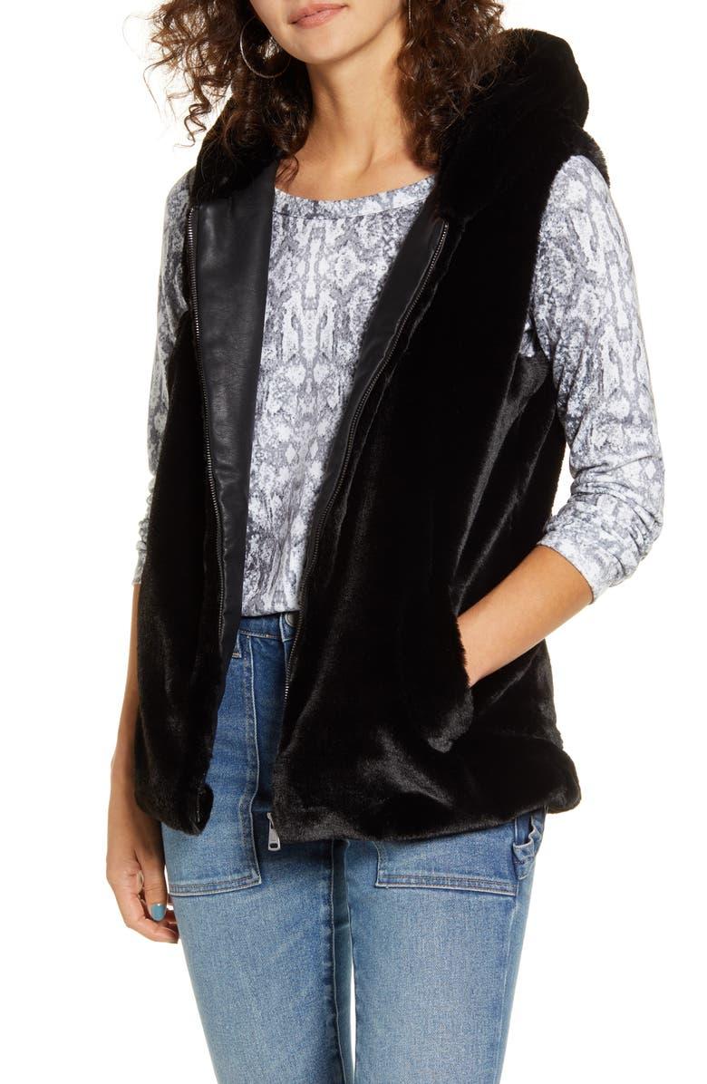 ONLY Front Zip Faux Fur Vest, Main, color, 001
