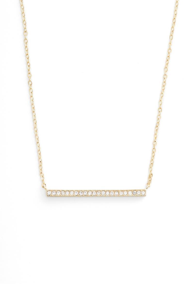NORDSTROM Pavé Bar Pendant Necklace, Main, color, CLEAR- GOLD