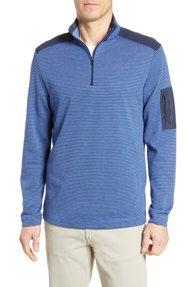 BUGATCHI Panel Detail Stripe Pullover, Main, color, CLASSIC BLUE