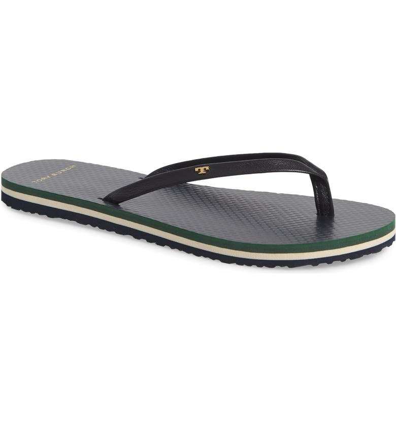 TORY BURCH Leather Flip Flop, Main, color, TORY NAVY/ BRUSH STRIPE