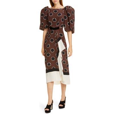 Johanna Ortiz Full Sleeve Silk Crepe De Chine Midi Dress, Brown