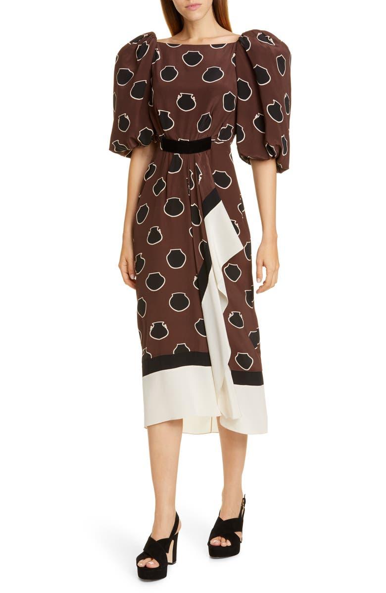 JOHANNA ORTIZ Full Sleeve Silk Crêpe de Chine Midi Dress, Main, color, CHOCOLATE