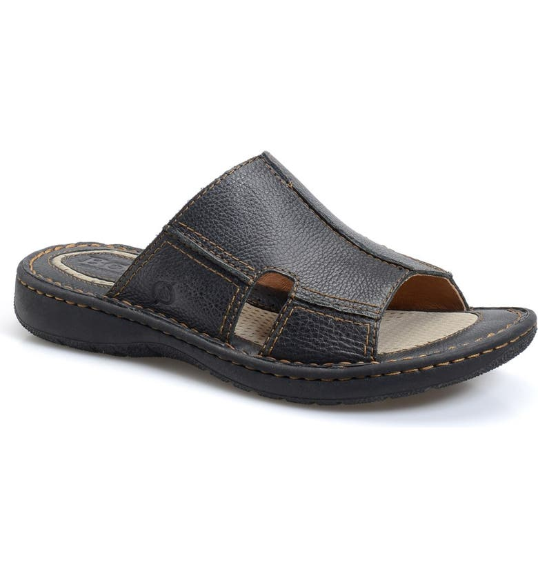 BØRN 'Jared' Slide Sandal, Main, color, BLACK LEATHER