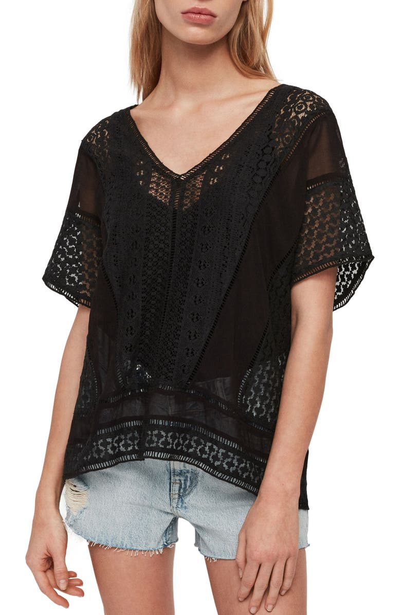 ALLSAINTS Cindi Lace Top, Main, color, BLACK