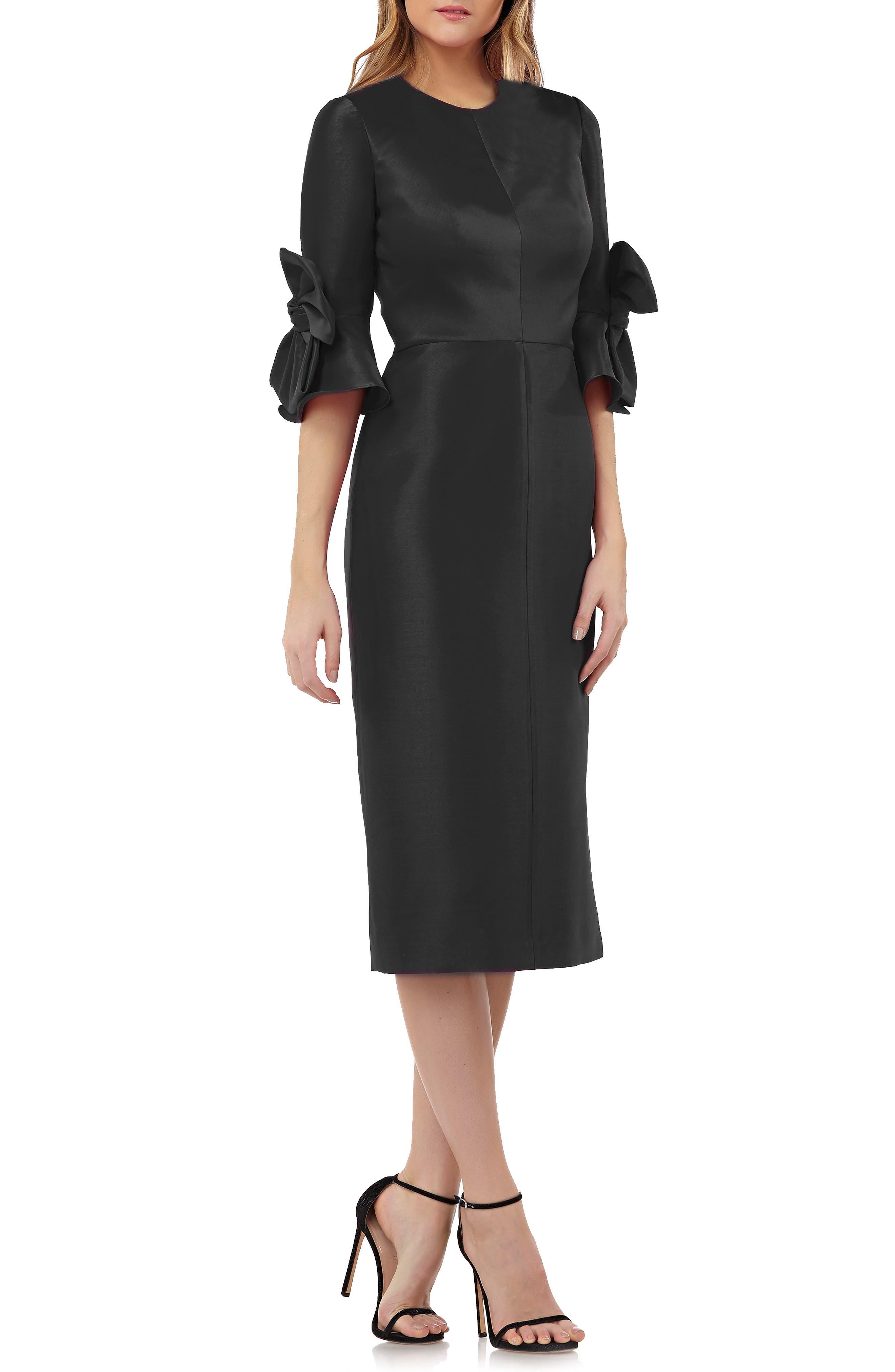 Kay Unger Bow Sleeve Stretch Mikado Dress, Black