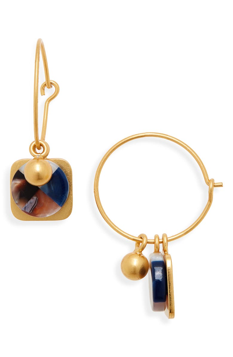 MADEWELL Mix & Match Colorblock Acetate Hoop Earrings, Main, color, 710