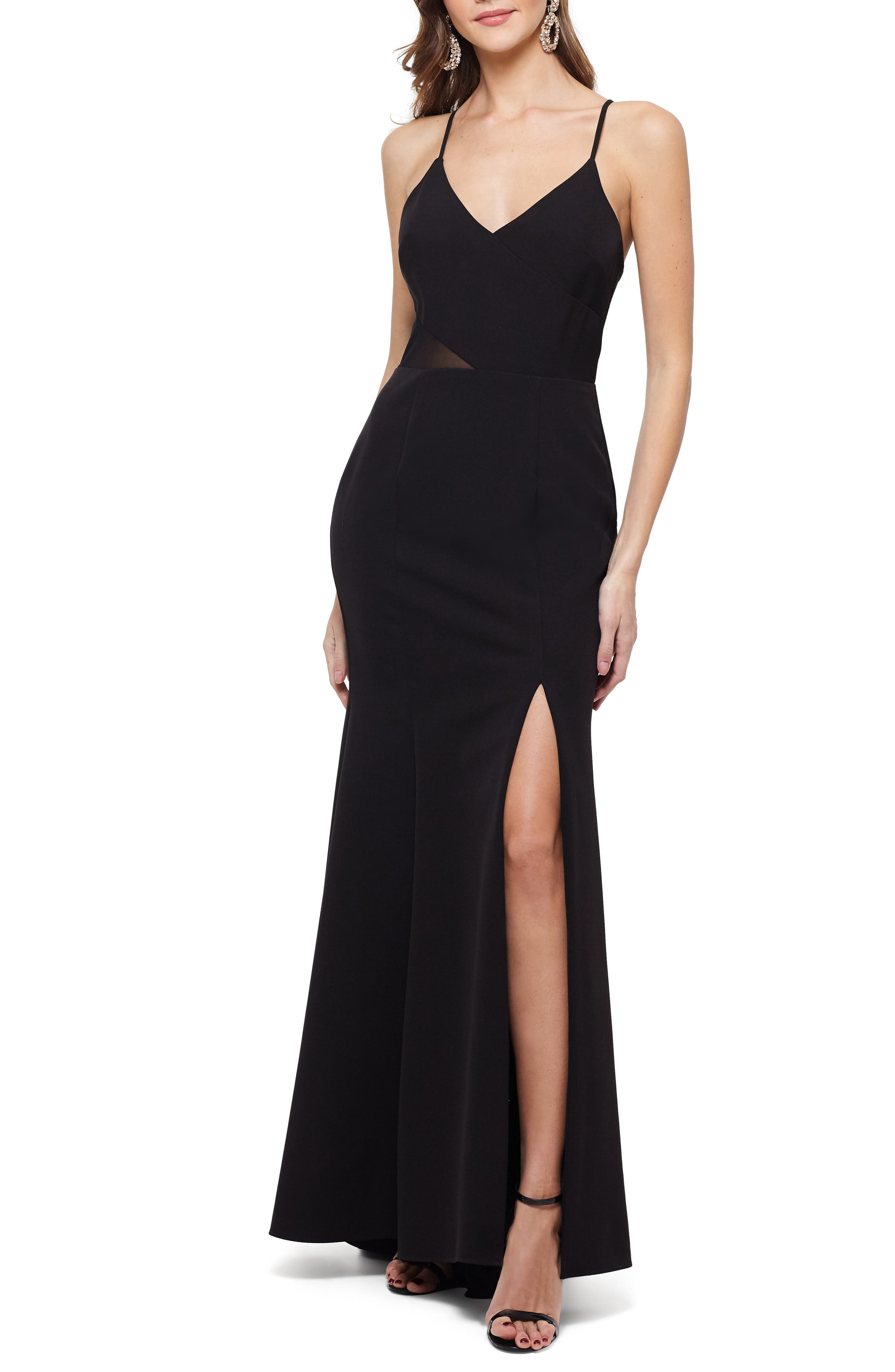 Xscape Illusion Waist V-Neck Gown, Black