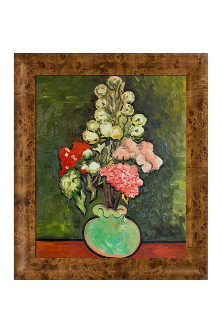 Image of Overstock Art Still Life Vase with Rose-Mallows Framed Oil Reproduction of an Original Painting by Vincent Van Gogh