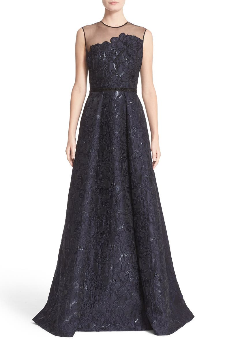 CARMEN MARC VALVO COUTURE Illusion Yoke Embroidered Jacquard A-Line Gown, Main, color, 400