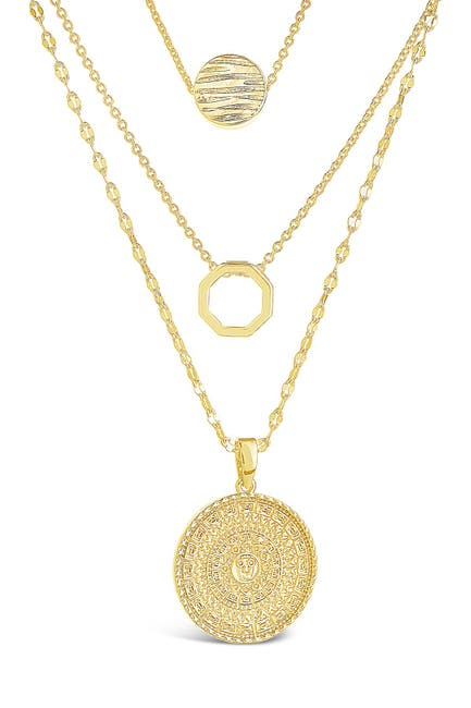 Image of Sterling Forever 14K Gold Plated Textured Disc Layered Chain Necklace