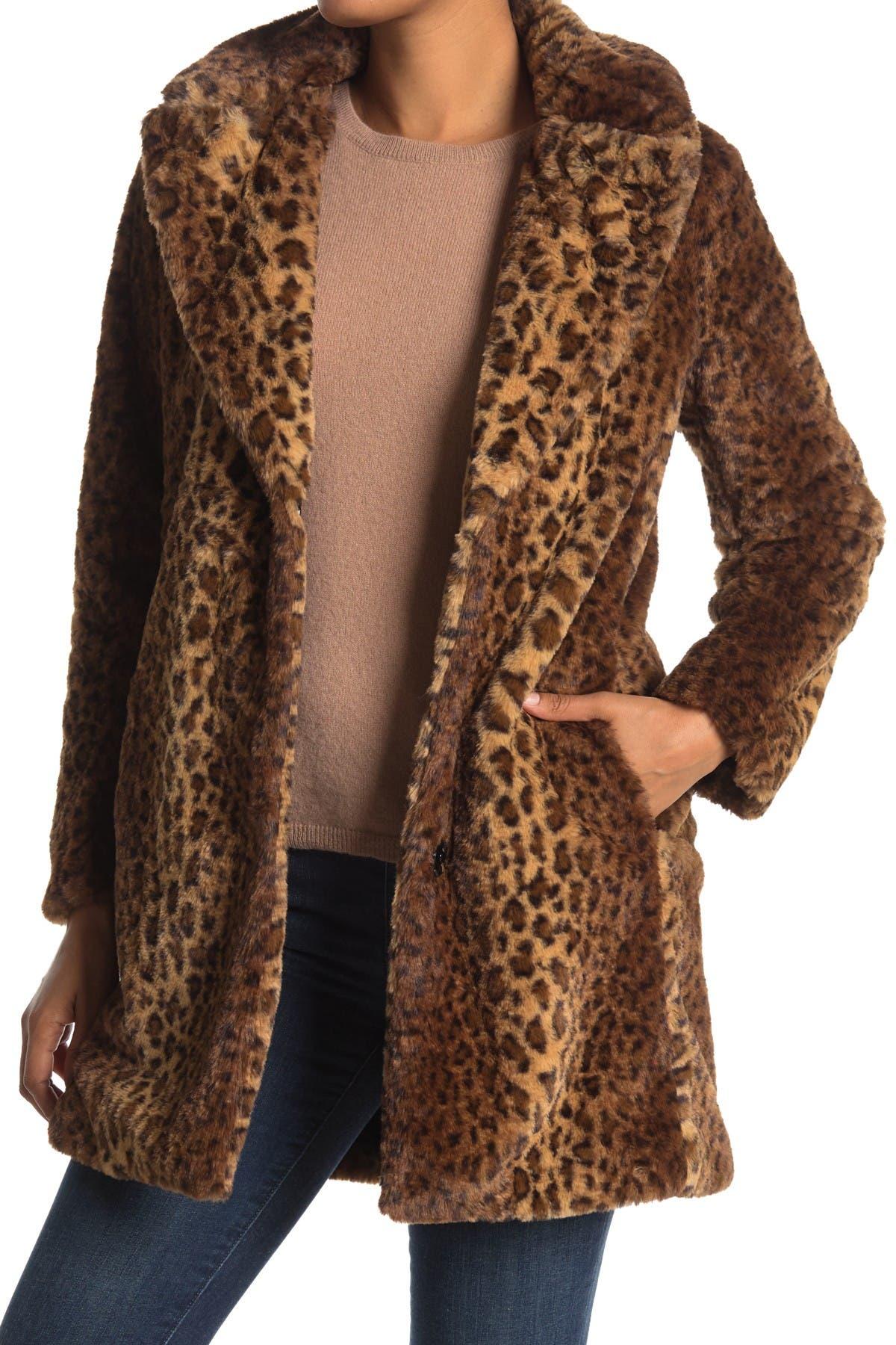 Image of Nine West Leopard Print Faux Fur Coat