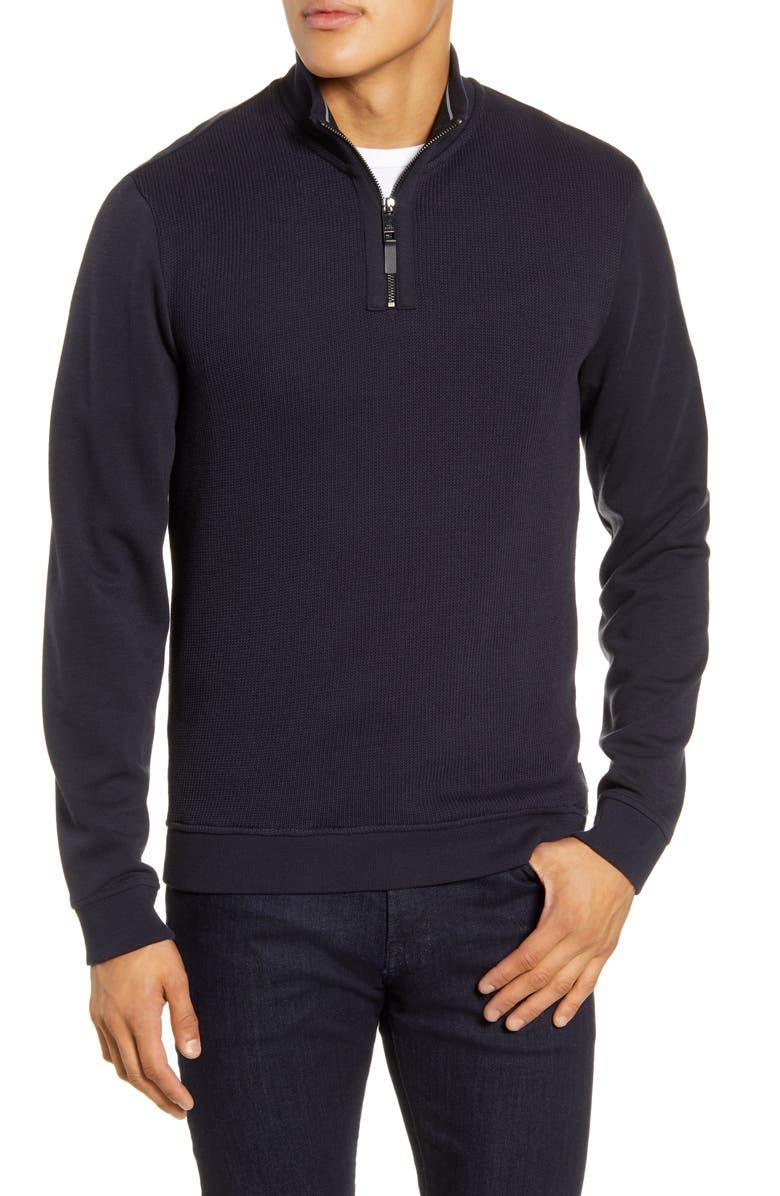 TED BAKER LONDON Hydes Slim Fit Textureblock Quarter Zip Pullover, Main, color, NAVY