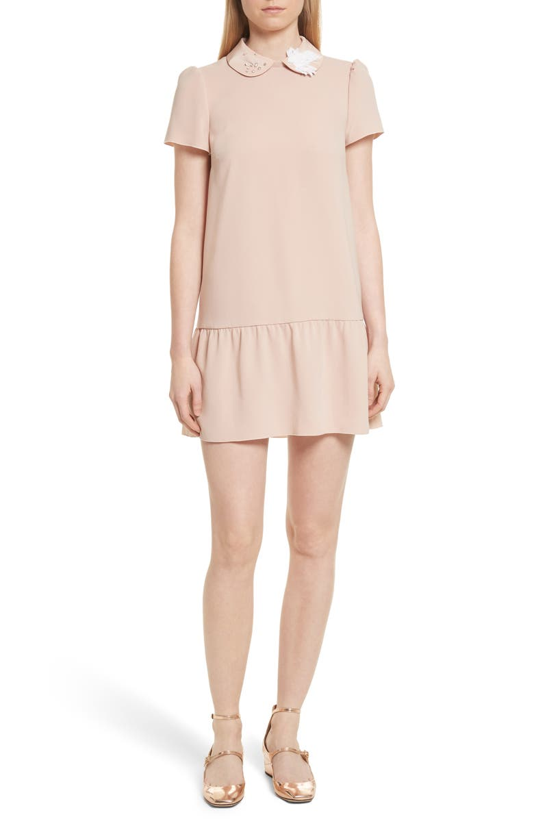 RED VALENTINO Drop Waist Crepe Dress, Main, color, 254