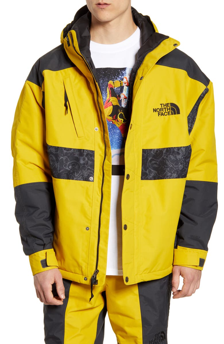 THE NORTH FACE 1994 Rage Collection Waterproof Hooded Jacket, Main, color, LEOPARD YELLOW/ ASPHALT