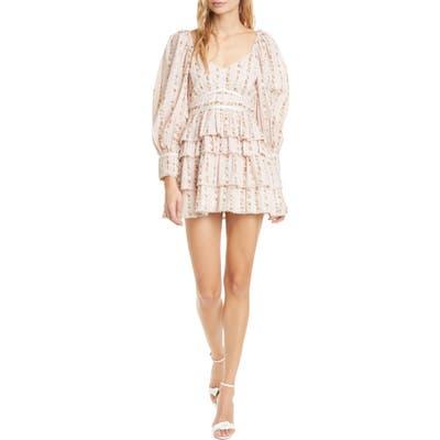 Loveshackfancy Astor Floral Ruffle Long Sleeve Cotton Minidress, Pink