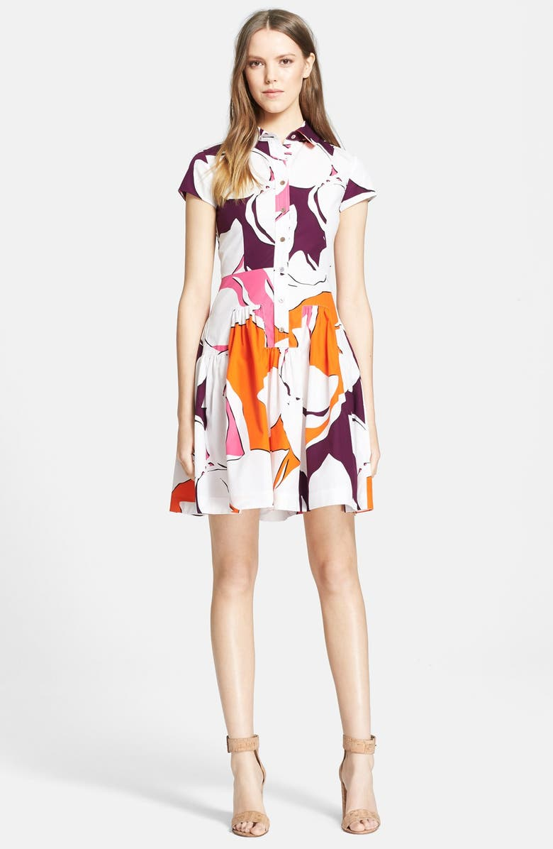 DIANE VON FURSTENBERG 'Scarlet' Floral Print Cotton Shirtdress, Main, color, 650