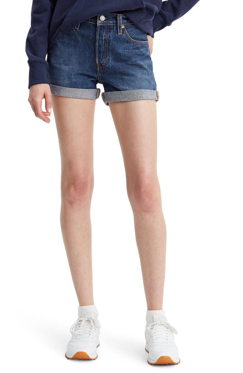 LEVI'S<SUP>®</SUP> 501<sup>®</sup> Long Denim Shorts, Main, color, BLUE CLUE