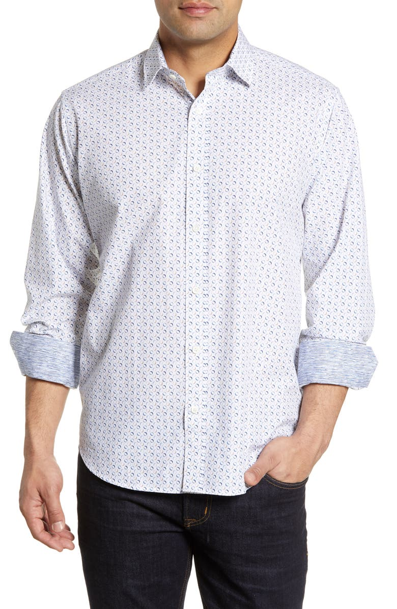BUGATCHI Classic Fit Oval Print Cotton Shirt, Main, color, CHALK