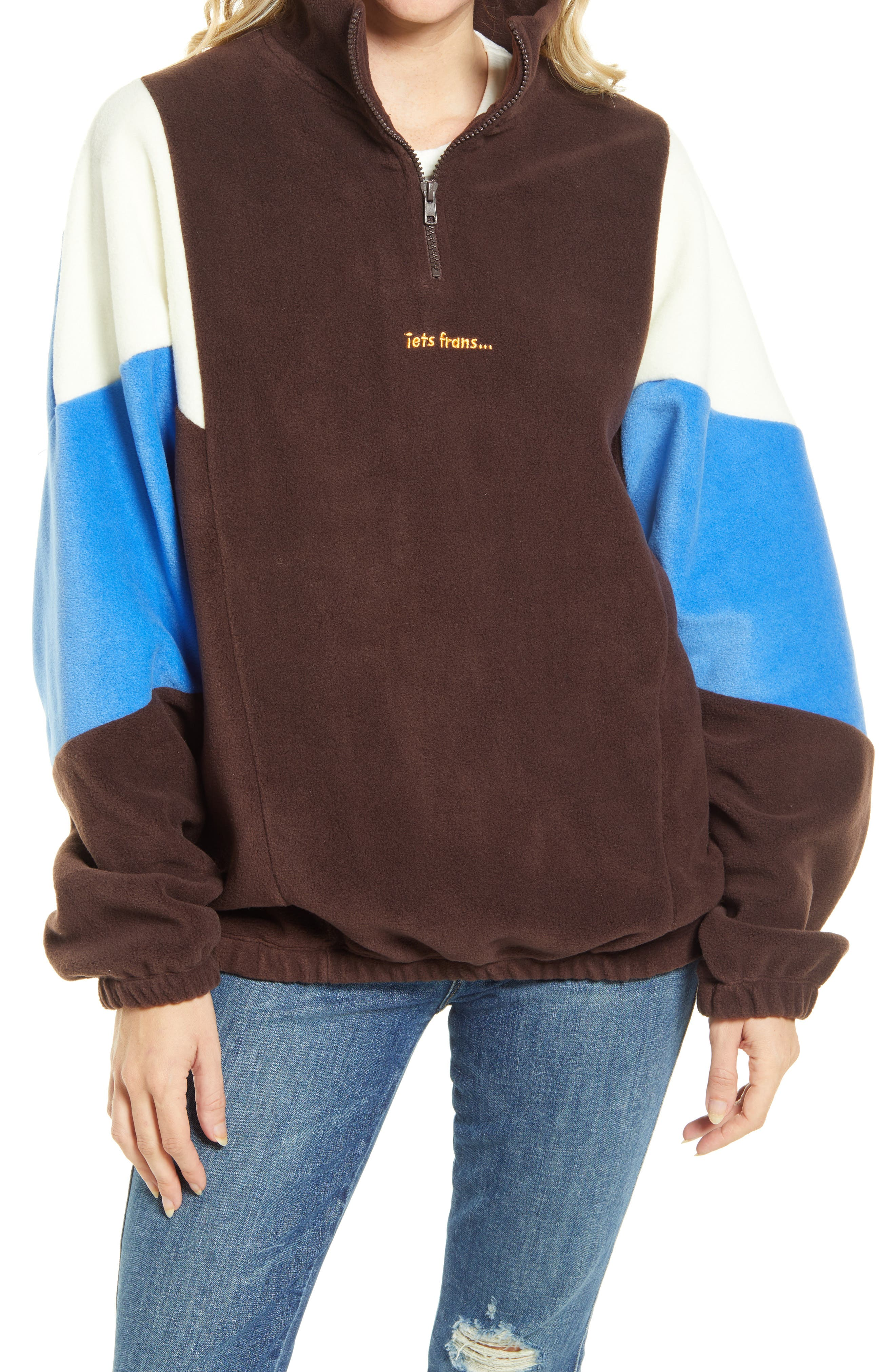 Colorblock Half Zip Fleece Pullover