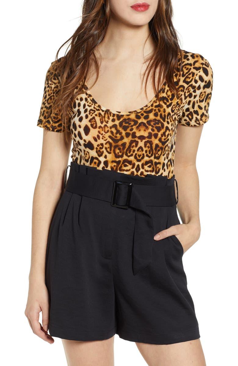 J.O.A. Leopard Print Bodysuit, Main, color, 200